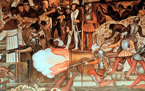 Political performance for Diego rivera la conquista mural